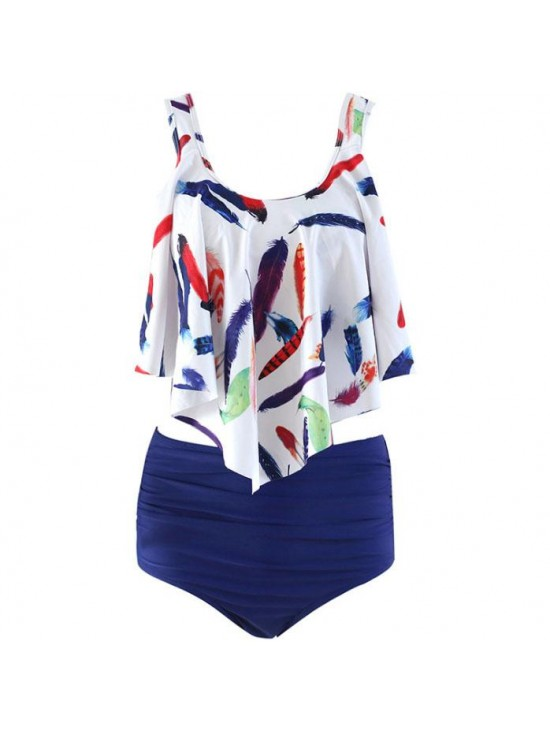 New Floral Printed Tankinis High Waist Swimwear Ruffled Two Piece Bathing Suit