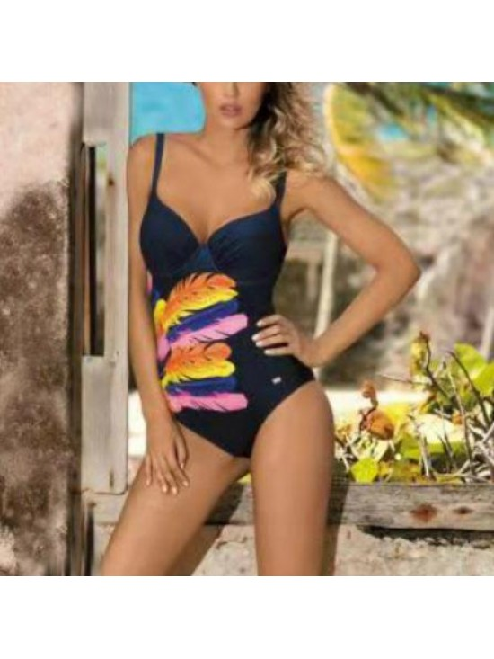 Feather Digital Printed Swimsuit One Piece Swimwear Bathing Suits