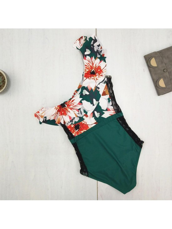 One Shoulder Ruffled Swimsuit Floral Printed Striped Swimwear Lace Stitching One Piece Bathing Suit