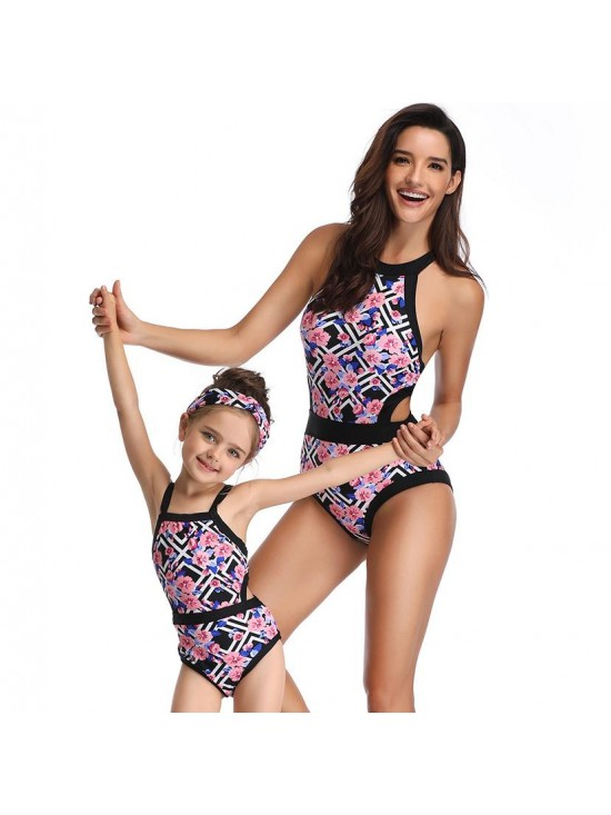 Floral Printed Parent-child Swimsuit Backless Swimwear Cut Out Matching One Piece Bathing Suit