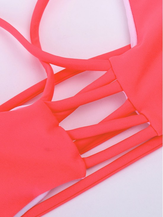 Sexy Halter Wireless Keyhole Front Hollow Out Breathable Bikini For Women