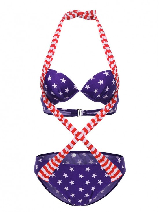 American Flag Criss-cross Backless Lace Up Padding One-pieces Sexy Bikinis