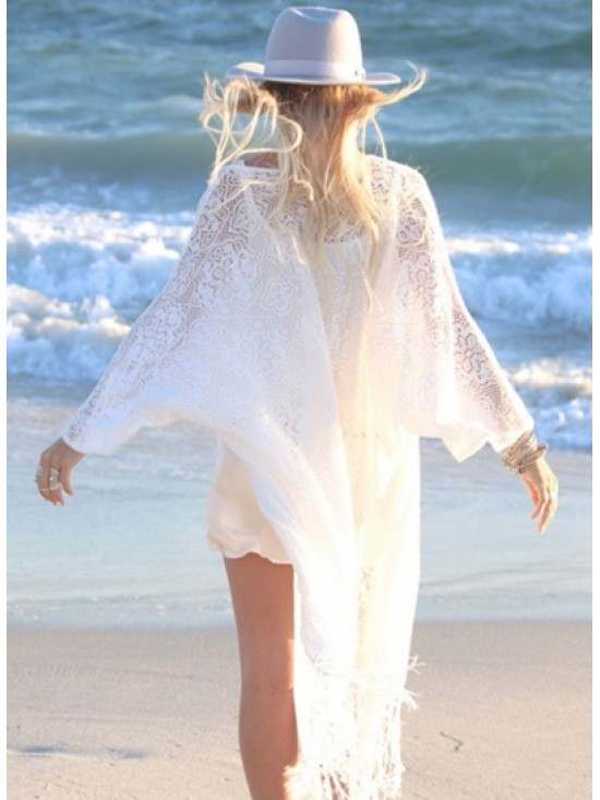 Casual Lace Open front Beach Cover ups with Tassel