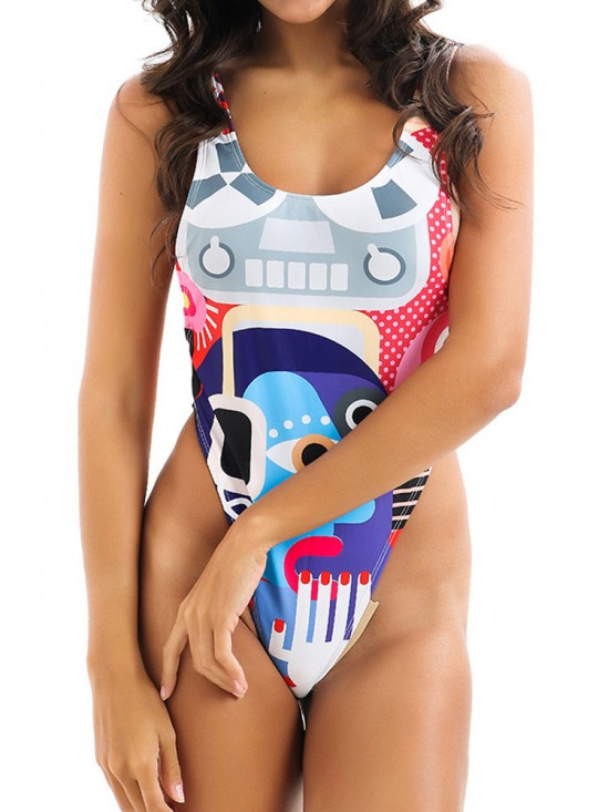 Geometric Print Backless Plunge Cut Out Swimsuits