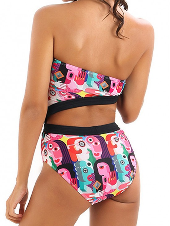 Bandeau Strapless Cut Out Geometric Swimsuits
