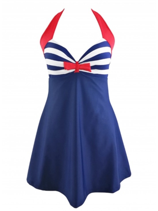 Striped Halter Neck Bownot Backless Swimsuits