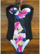 Women's Halter Backless Floral Slim Fit One Piece Swimsuit