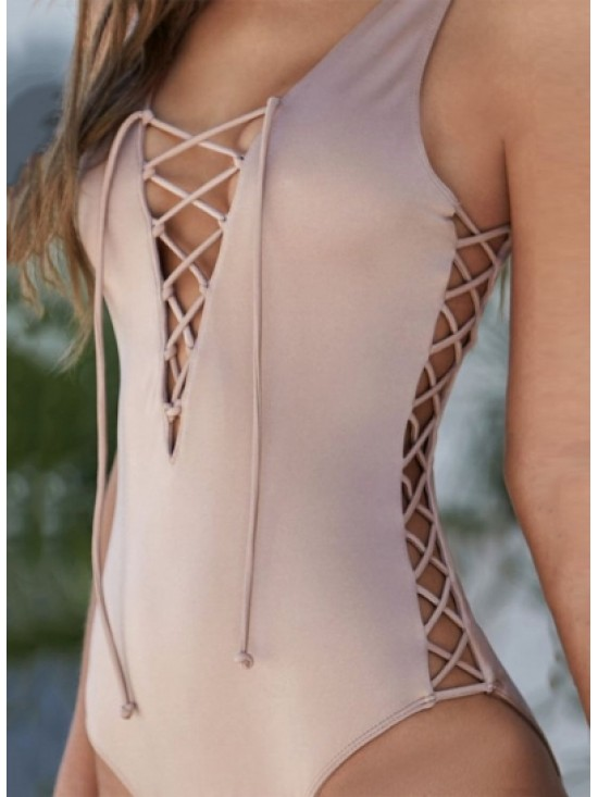 V Neck Lace-up Solid Color One Piece Swimwear