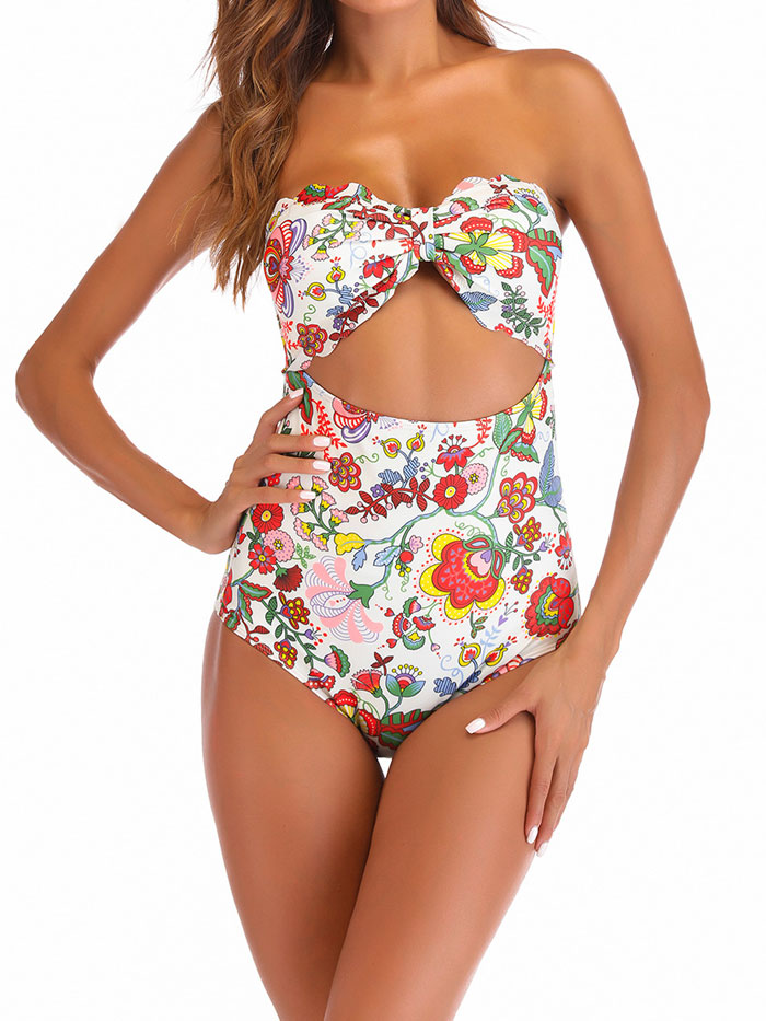 Womens Strapless Swimsuit Floral Print One Piece Swimwear Bathing Suit