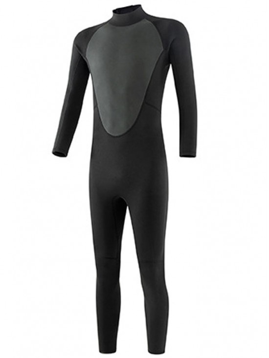 Black 3MM Long Sleeve Back Zip Diving Surfing Suit Full Wetsuit for Men