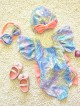 Children's Swimsuit Shiny Cute Girl Colorful Bowknot Baby One Piece Swimwear